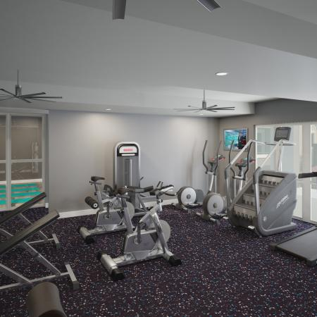 24/7 Athletic Club with Cardio and Strength Training Equipment and Water Rower and separate yoga studio