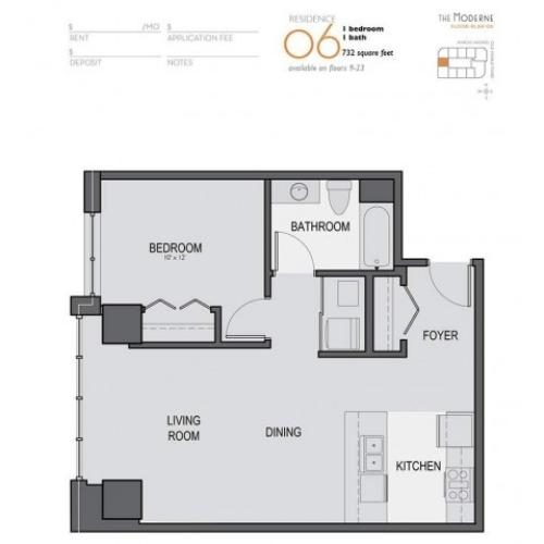 One Bedroom One Bathroom Floor Plan 06