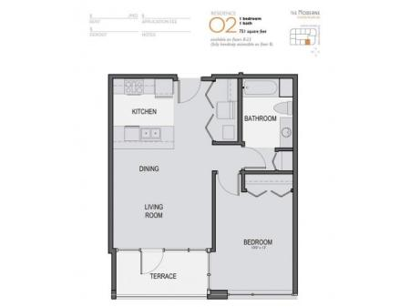 One Bedroom One Bathroom Floor Plan 02