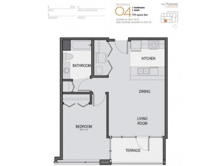 One Bedroom One Bathroom Floor Plan 04