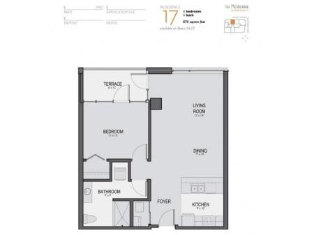 One Bedroom One Bathroom Floor Plan 17