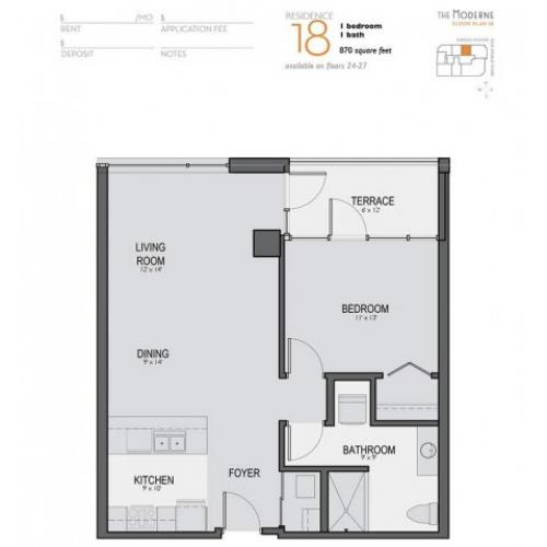 One Bedroom One Bathroom Floor Plan 18