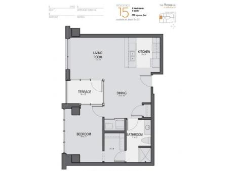 One Bedroom One Bathroom Floor Plan 15