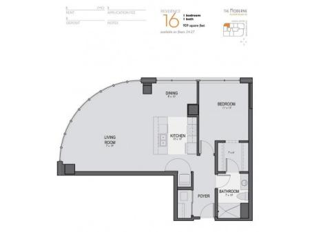 One Bedroom One Bathroom Floor Plan 16