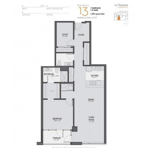 One Bedroom One Bathroom Floor Plan 13