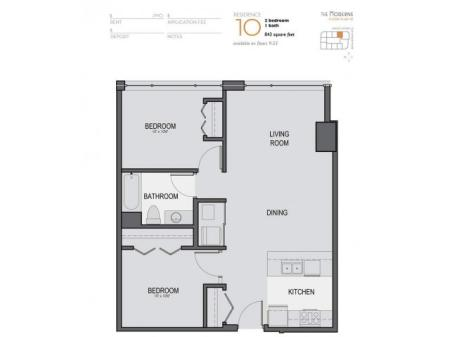 Two Bedroom One Bathroom Floor Plan 10