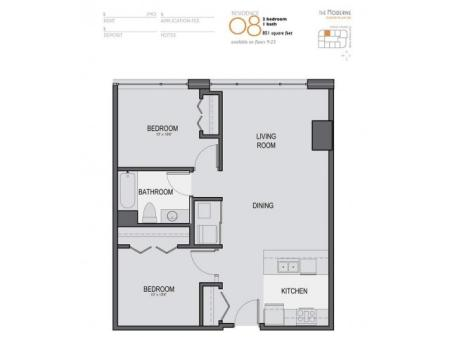 Two Bedroom One Bathroom Floor Plan 08