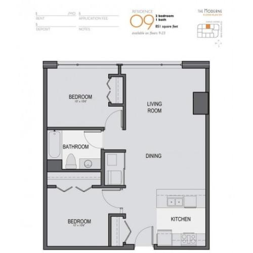 Two Bedroom One Bathroom Floor Plan 09