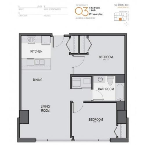 Two Bedroom One Bathroom Floor Plan 03
