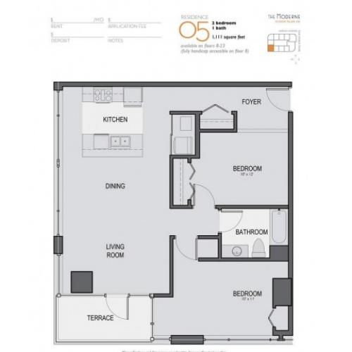Two Bedroom One Bathroom Floor Plan 05