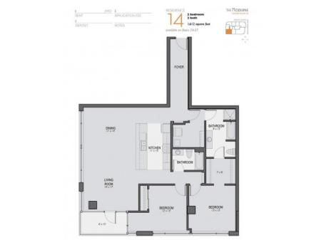 Two Bedroom Two Bathroom Floor Plan 14