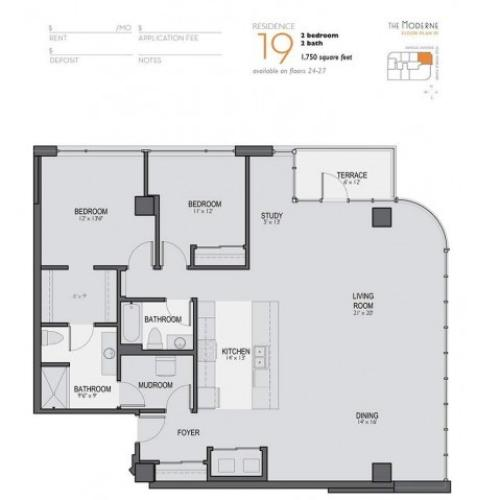 Two Bedroom Two Bathroom Floor Plan 19