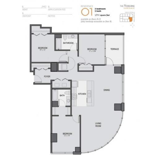 Three Bedroom Two Bathroom Floor Plan 01