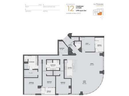 Three Bedroom 2.5 Bathroom Floor Plan 12