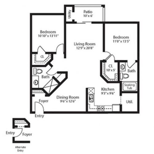 Ellis, two bedrooms, two baths