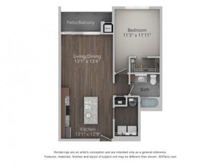 Berkshire 732 Square Feet One Bedroom | One Bathroom