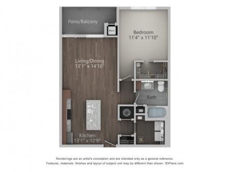 Cascadia 749 Square Feet One Bedroom | One Bathroom