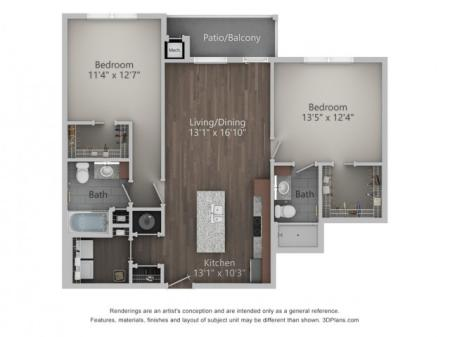 Silverton 1084 Square Feet Two Bedroom | Two Bathroom