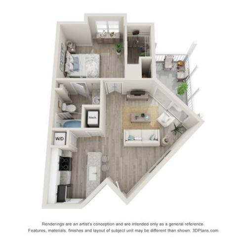 Ashbury One Bedroom One Bath 3D Floor Plan