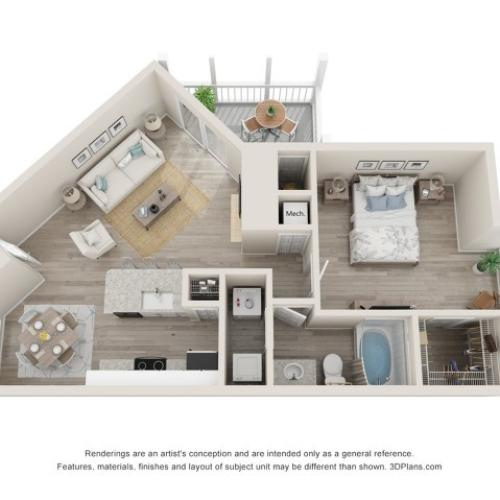 Brighton One Bedroom One Bath 3D Floor Plan