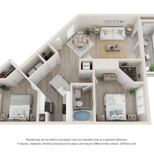 Canterbury Two Bedroom One Bath 3D Floor Plan