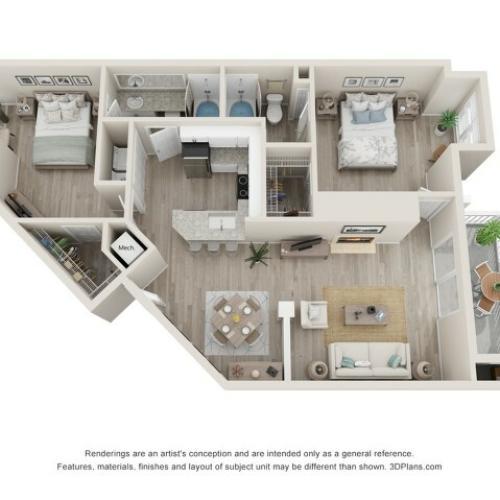 Dover Two Bedroom Two Bath 3D Floor Plans