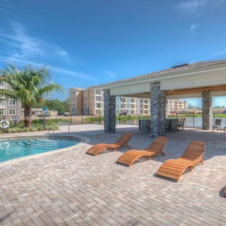 San Mateo Apartments Kissimmee Florida pool with outside pavilion and pergola