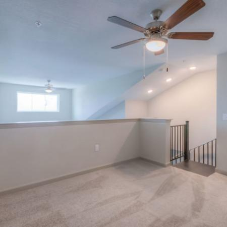 San Mateo Apartments Kissimmee Florida second floor loft with carpet and ceiling fan