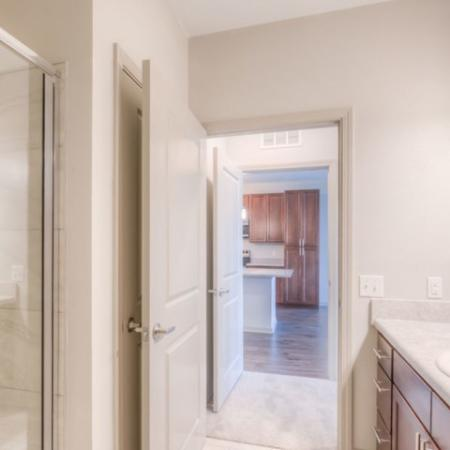 San Mateo Apartments Kissimmee Florida bathroom with walk in shower, large vanity with single sink