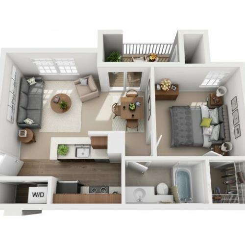 One Bedroom One Bathroom Reno - 535 sq ft