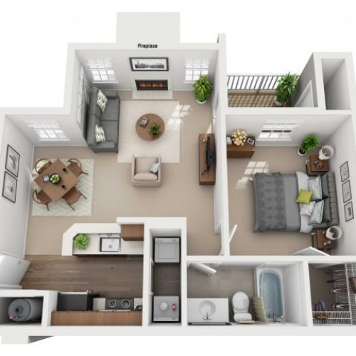 One Bedroom One Bathroom Reno - 648 sq ft