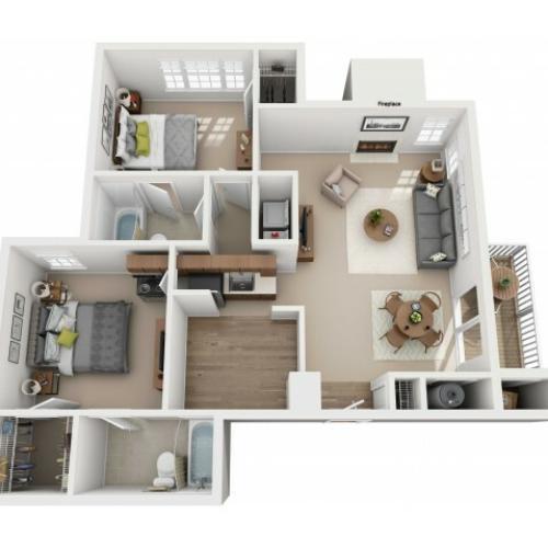 Two Bedroom Two Bathroom Reno - 925 sq ft