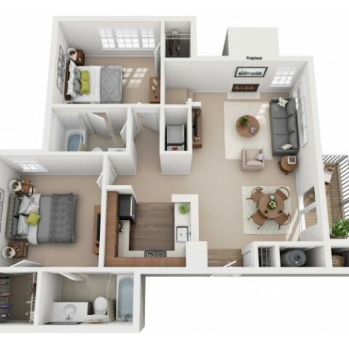 Two Bedroom Two Bathroom Reno - 1163 sq ft