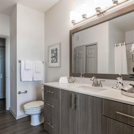 Model bathroom with white countertops
