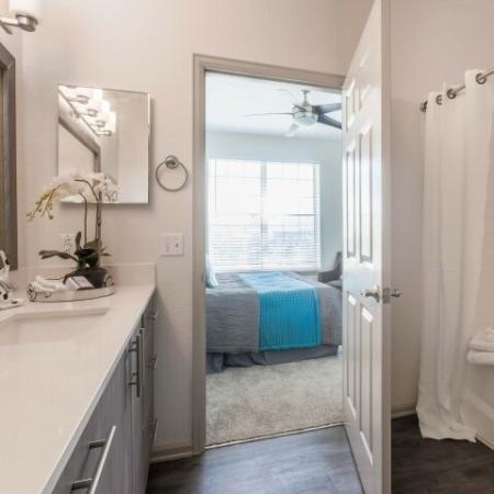 model bathroom looking into bedroom