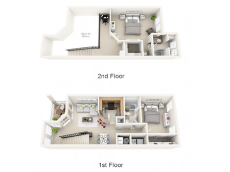 2 bedroom | 2 bathroom loft