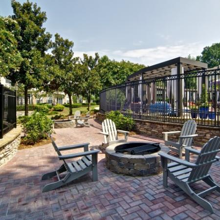Firepit surrounded by adirondack chairs