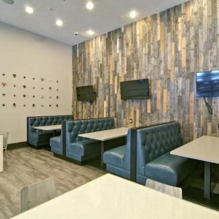 Comfortable booth seating in the Sports Lounge with HDTVs