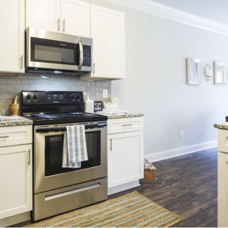 Stainless Steel Appliances in the Kitchen with Granite Countertops