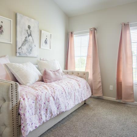 Guest Bedroom with plush berber carpet