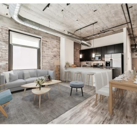 Kitchen and dining area with historic loft feel