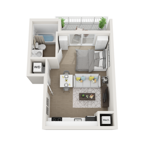Salton studio 3D floor plan