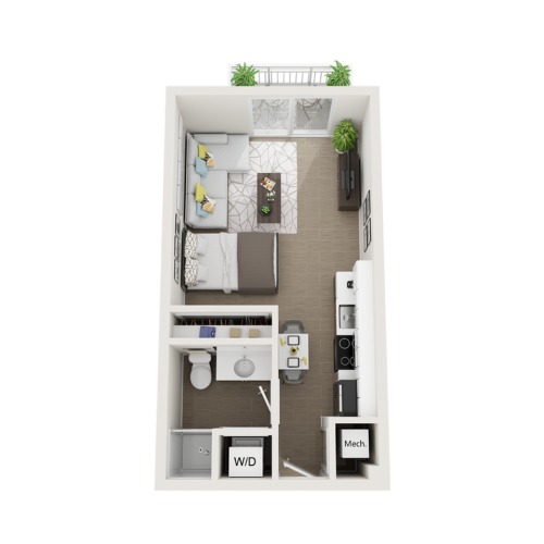 Seneca studio 3D floor plan