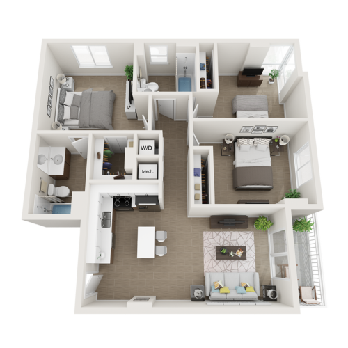 Claire three bedroom two bathroom 3D floor plan