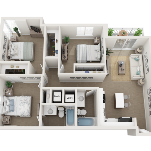 Como three bedroom two bathroom 3D floor plan