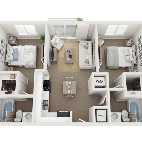 Balta l two bedroom two bathroom 3D floor plan