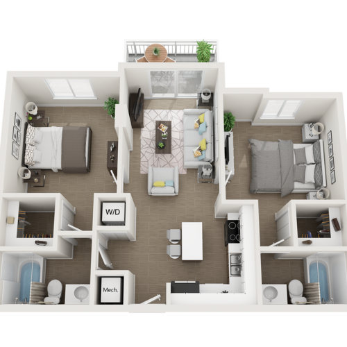 Balta ll two bedroom two bathroom 3D floor plan