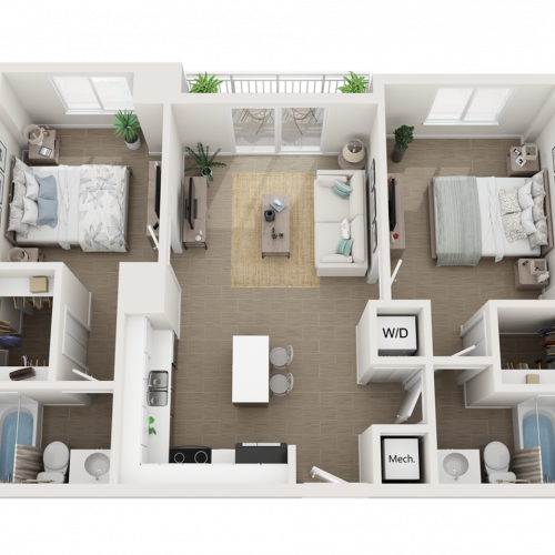 Balta lll two bedroom two bathroom 3D floor plan