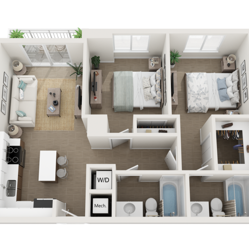 Burley l two bedroom two bathroom 3D floor plan