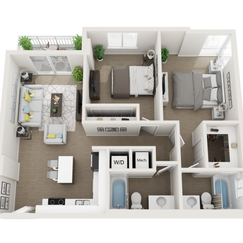 Burley ll two bedroom two bathroom 3D floor plan